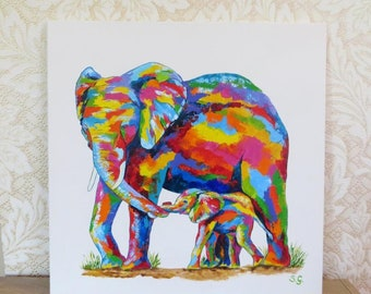 Nursery art Elephant painting Original painting for Kids room decor Birthday gift Colorful Art Nursery Decor gift for Mother Wall decor