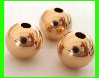 5pcs 8mm 14k ROSE  gold filled seamless shiny plain round bead spacers RB08