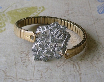 Art Deco Rhinestone Assemblage Bracelet With Expandable Vintage Watch Band, Watch Band Bracelet (B059)