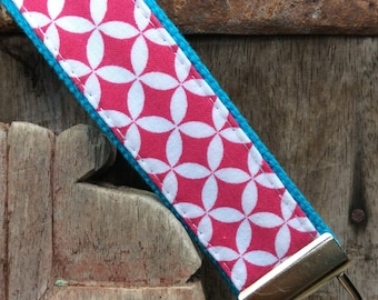 READY TO SHIP-Beautiful Key Fob/Keychain/Wristlet-Pink Hexi on Turq