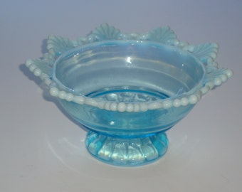 Mosser Blue Opalescent RING & PETAL Footed Bowl
