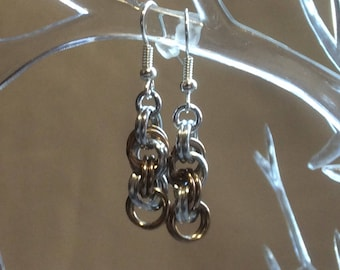 Champagne and Silver Double Spiral Chain Mail Earrings