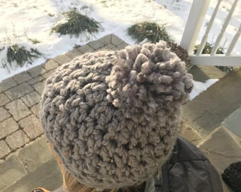 Pom Pom Hat | Gray Tweed