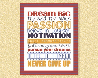 Dream Big Subway Art - 8x10 - Inspirational Motivational Quote Passion Instant Download Printable Print Typography, Wall Art Home Room Decor