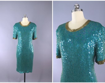 Vintage Sequined Dress / 1980s Trophy Dress / 80s Party Dress / Green MERMAID Dress / Beaded Sequin Dress  / Medium M