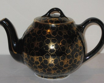 Hall China French Flower Gold Teapot