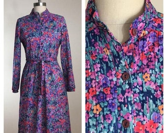 30% Off Sale 80s Sears Blue Floral Micro Pleat Belted Midi Secretary Dress, Size Medium to Large
