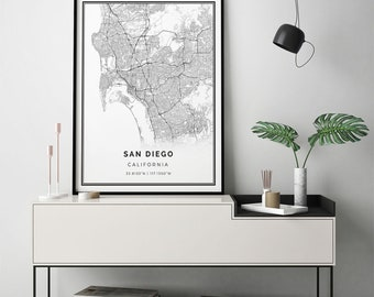 San diego etsy san diego map print scandinavian wall art poster city maps artwork california gifts map gifts for him m8 solutioingenieria Gallery