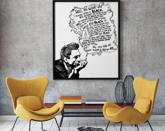 Johnny Cash, Johnny Cash poster, Johnny Cash print, Johnny Cash wall art, Home decoration