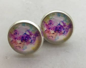 Watercolour glass dome stud earrings. 12mm with surgical steel and nickel free posts