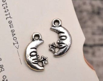 20 antique silver moon charms star charm pendant pendants  (L09)