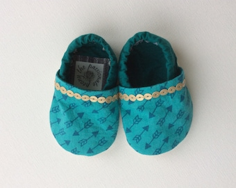 Teal Baby Booties with Gold Trim, 0-6 months