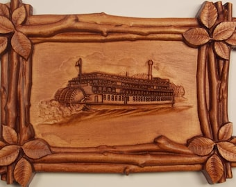 Vintage Steamboat Cnc Wood Carving Wall Hanging Western Decor, MADE TO ORDER, Custom Relief Carving, Birch Wood Relief Carved Wall Art Decor