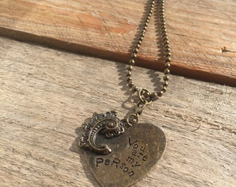 """Antique gold long ball chain with heart pendant. This necklace measures 32.5""""long."""