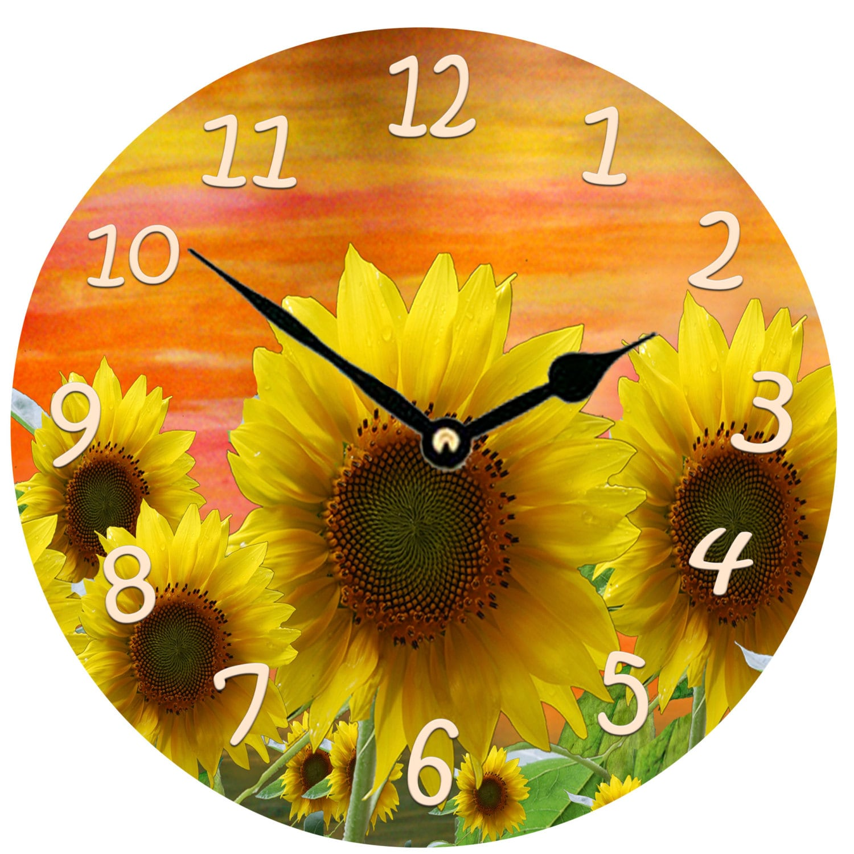 Sunset Sunflowers wall clock large 11 round