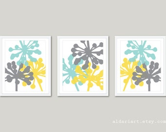 Flower Buds Art Prints - Set of 3 prints - Blue Gray Yellow - Modern Botanical Wall Art - Modern  Flowers  Wall Art - Aldari Art