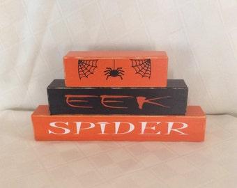 Halloween, Halloween blocks, Halloween decorations, spiders, seasonal decorations, holiday decorations, shelf sitters, desk sitters