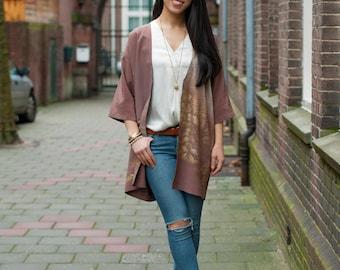 Japanese Kimono Jacket | Silk Kimono Robe | Kimono Cardigan | Boho Jacket | Haori | Brown Kimono |
