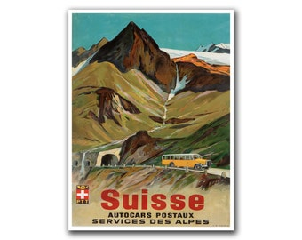 Retro Travel Poster Art Swiss Home Decor Switzerland Vintage Print (H259)