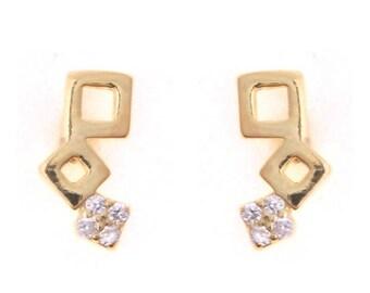 Cubic Zirconia Sterling Silver Studs Earrings