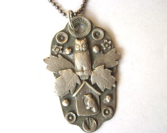 new artisan owl and birdhouse pendant necklace, sterling
