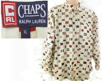 Vintage Chaps shirt men - flag pattered shirt - flag button shirt -  button up shirt men ,,  collared  Long sleeve shirt, , size X L  # 19