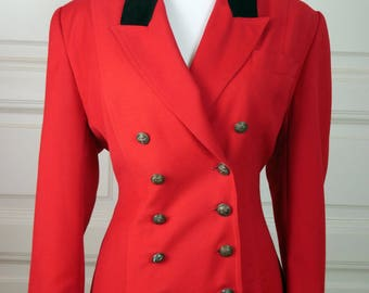 German Vintage Blazer Women's, Double-Breasted Red Blazer, Black Velvet Collar, Riding Jacket Style, Fox Hunting Style: Size 12 US, 16 UK