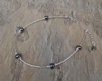 Ankle Bracelet - Hematite anklet - Sterling Silver Anklet - Silver anklet