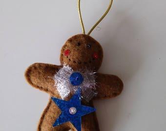"Handmade Felt GINGERBREAD MAN Ornament Blue Star 4""h x 3""h"