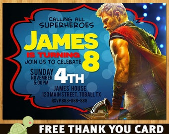 Thor Invitation - Thor invite - free thank you card - Thor Birthday Party