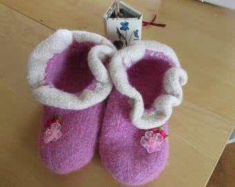 Srtickgefilzte slippers for little princesses 33/34