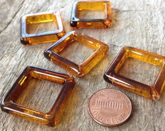 4pcs 25mm Amber Acrylic Square Pendant Hoop, Ombre Beads, Gradient Beads, Jewelry Making, DIY, Craft Supplies, Jewelry Supplies
