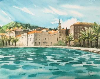 ORIGINAL. Urban sketch. Harbor in Split, Croatia.