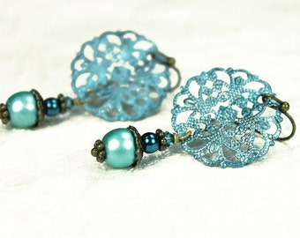 Aqua Filigree Vintage Style Earrings with Czech Glass,Swarovski Crystal