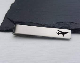 Pilot Gift Tie Clip Airplane Gift Tie Bar Personalized Wedding Gift for Men Gift Groomsmen Unique Gift for Him Personalized Tie Clip