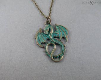 Painted Verdigris Bronze Dragon Charm Necklace