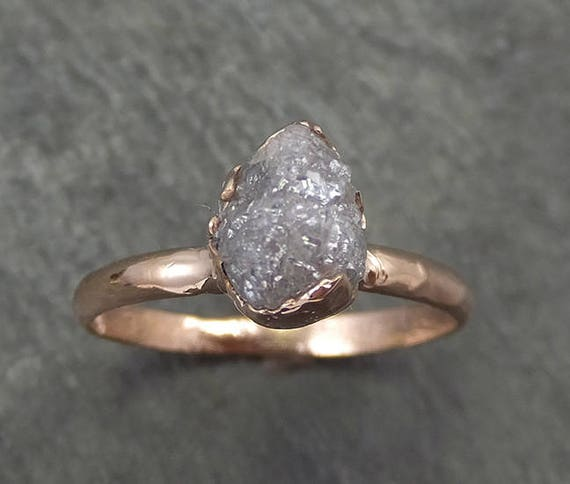 Raw Diamond Solitaire Engagement Ring Rough Uncut Rose gold