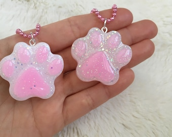 Resin Paw Print Pendant Charm - Pink Pet Paw Keychain - Kawaii Cat Necklace