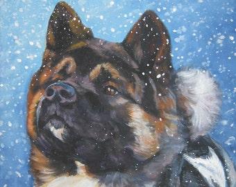 Akita art CANVAS print of LA Shepard painting 8x10 dog portrait