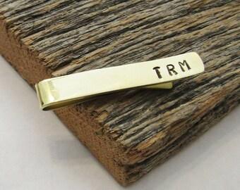 Initials Tie Bar Monogram Tie Clip Copper Tie Bar Bronze Tie Clip Customized Tie Clip Tie Accessory Gift for Groomsman Wedding Favors Men
