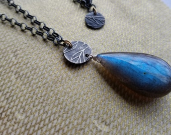 Large Labradorite  Sterling Silver Necklace Fine Silver Quality