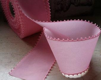 "2"" Vintage  Picot Edge Taffeta Ribbon Trim in Happy Pink, sash, bridal, millinery, bows, sewing supplies, etc..."