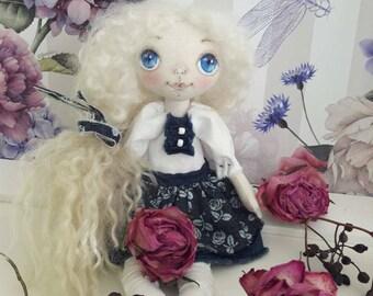 Handmade rag doll with white hair cloth doll soft doll with white hair textile doll for girls