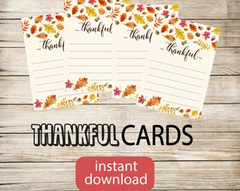 Thankful cards printable, 4 per sheet, Instant download, great last minute Thanksgiving party idea decor activity