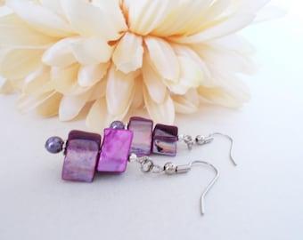 Purple Earrings Boho Jewelry Bohemian Earrings Sterling Silver, Best Selling Jewelry Gift for Her, Hippie Earrings, Gift for Mother Handmade