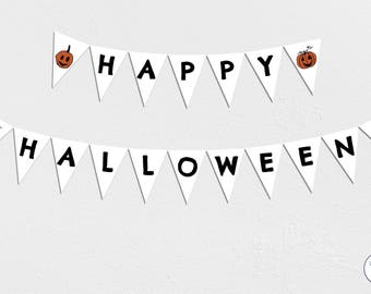 Happy Halloween Garland, Bunting, Banner, pumpkins, Instant Download, printable, orange and black