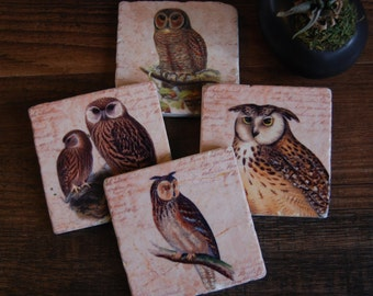 Keepers of the Forest coaster set - immediate shipping - owls, stone coasters