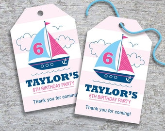 Personalized Sailboat Nautical Party Favor Tags - DIY Printable – Pink Girl (Digital File)