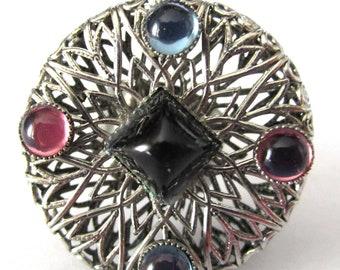 HUGE Silvertone Filigree Colorful Cabochon Vintage Boho Hippy Victorian Rivivial Cuff Ring