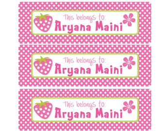 Strawberry Dream Kids School Labels, This Belongs to: Name Labels, Personalize Name Labels